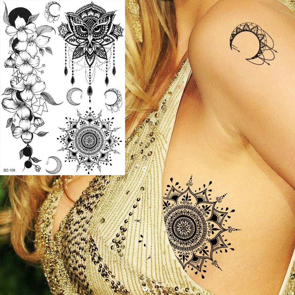 MRKAL Moda Cofre Mandala Flor De Henna Negro India Tatuaje Polilla ...