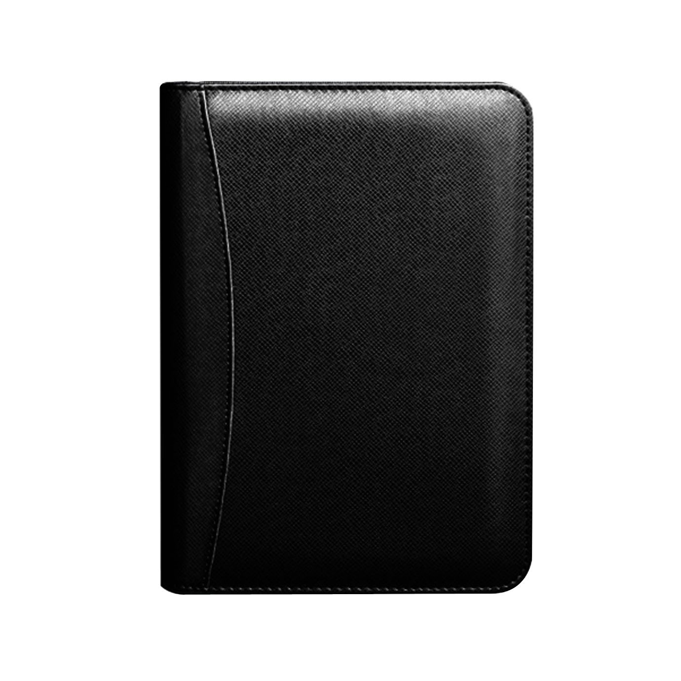 Felice PU Leather Zipper Business Notebook with Calculator, Card Slot, Pen Holder and Spiral Bound Loose-Leaf Business Notepad (Black)
