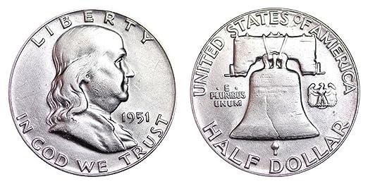 USA US 90/% SILVER FRANKLIN HALF DOLLAR 1963 UNC