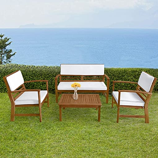 FDW Patio Sofa Set Outdoor Chat Set Patio Conversation Set 4-Piece Acacia Wood Outdoor Seating Set