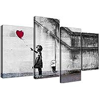 Wallfillers Quadro su Tela Banksy Extra Large, ragazza con palloncini, 130 cm XL Rosso | Set 4050