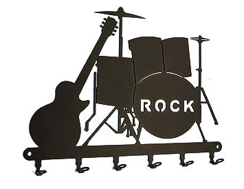 Tabla/Colgador de llaves * * * * Llave de banda de rock tarjeta de batería y guitarra, llave (metal, 6 Ganchos