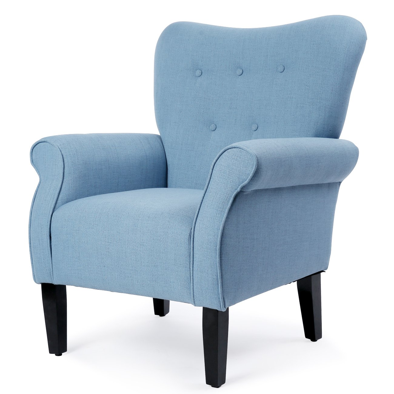 Belleze Modern Accent Chair Roll Arm Living Room Cushion Linen w/Wooden Leg (Avocado)