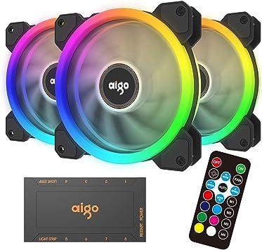 aigo Aurora Computer PC Case Cooling Fan Cooler 120mm RGB High Airflow Silent