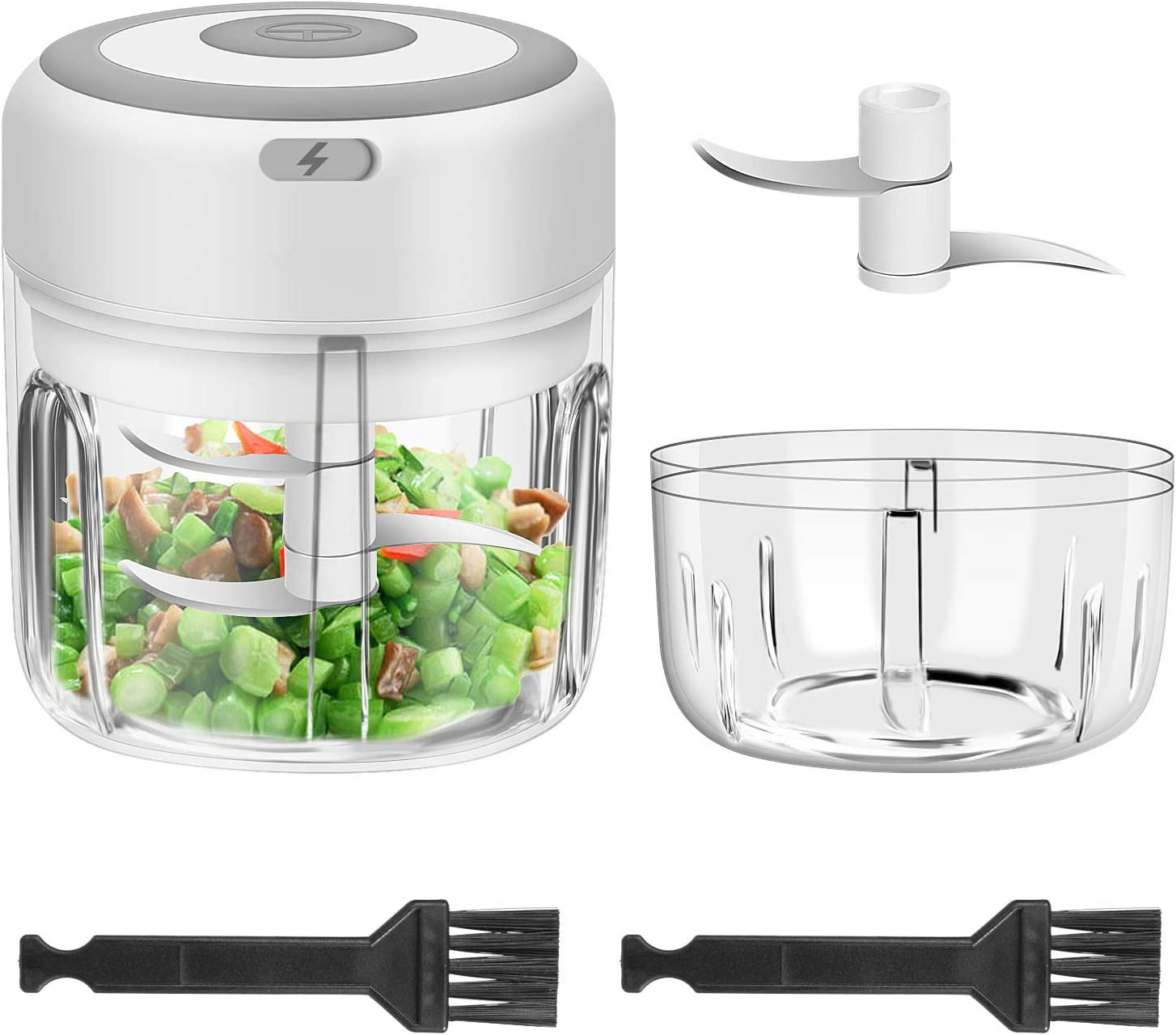 Cordless Garlic Chopper, 2PCS Electric Mini Food Chopper Portable Powerful Garlic Press Chopper for Pepper Chili Vegetable Nuts Mincer/Grinder, Baby Food Maker (250ml &100ml, White)