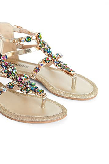 3ea2836169fe ... Diamonds Sandals Beach Flat Slippers Elastic Buckle Casual Outdoor  Holiday Comfy Sandals Shoes for Women (Gold  Silver)  Amazon.co.uk  Shoes    Bags