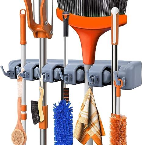 Brooms Brushes Organizer Storage Hanging Rack SunshineFace Wall Mount Mop Holder