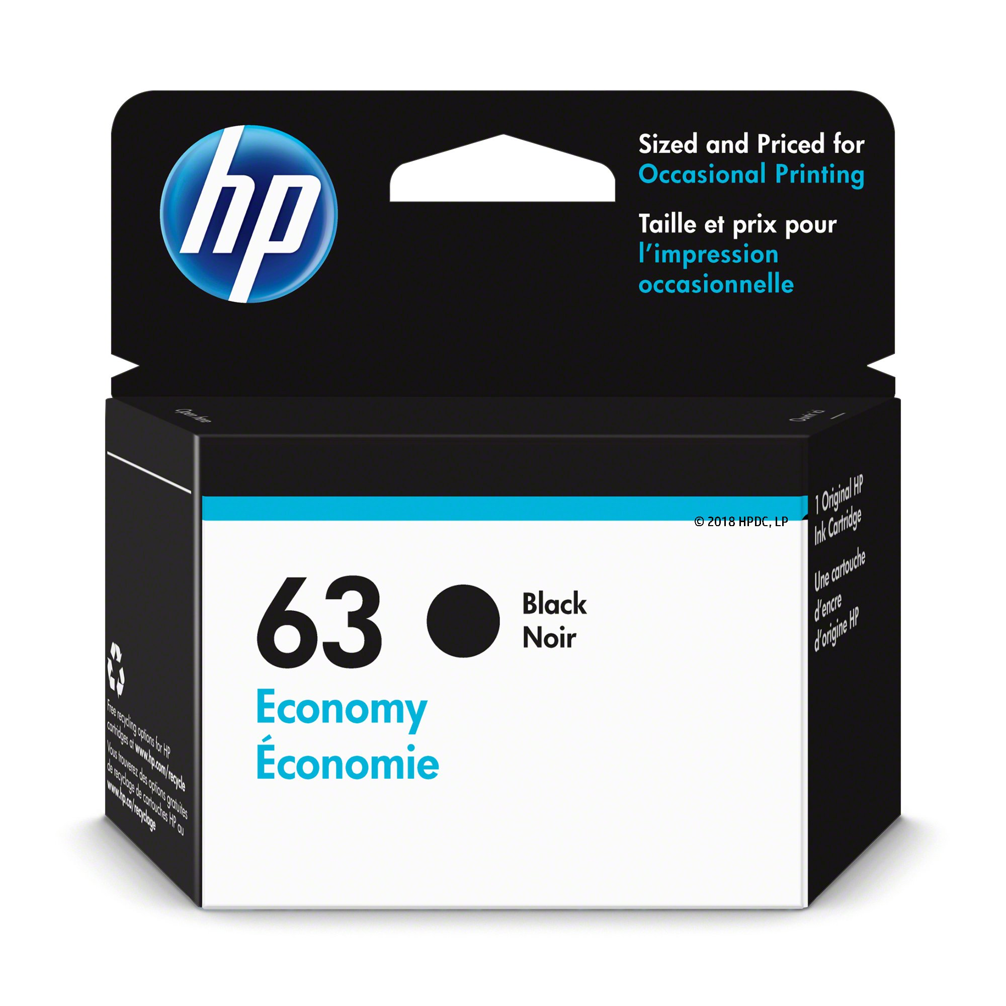 HP 63 Ink Cartridge Black Economy (1VV45AN) for HP Deskjet 1112 2130 2132 3630 3632 3633 3634 3636 3637 HP Envy 4512 4513 4520 4523 4524 HP Officejet 3830 3831 3833 4650 4652 4654 4655