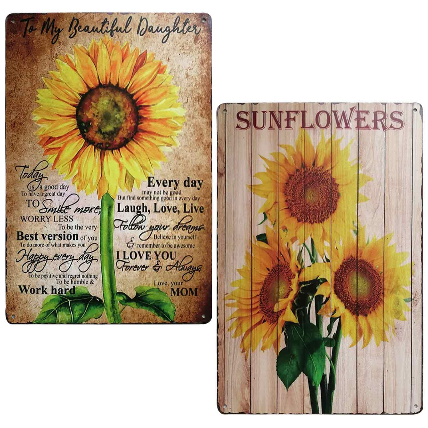 TISOSO Rustic Sunflower Retro Vintage Tin Sign Farmhouse Decorations,Laundry Room Decor, Kitchen, Living Room, Bathroom & Bedroom 2Pcs-8X12Inch