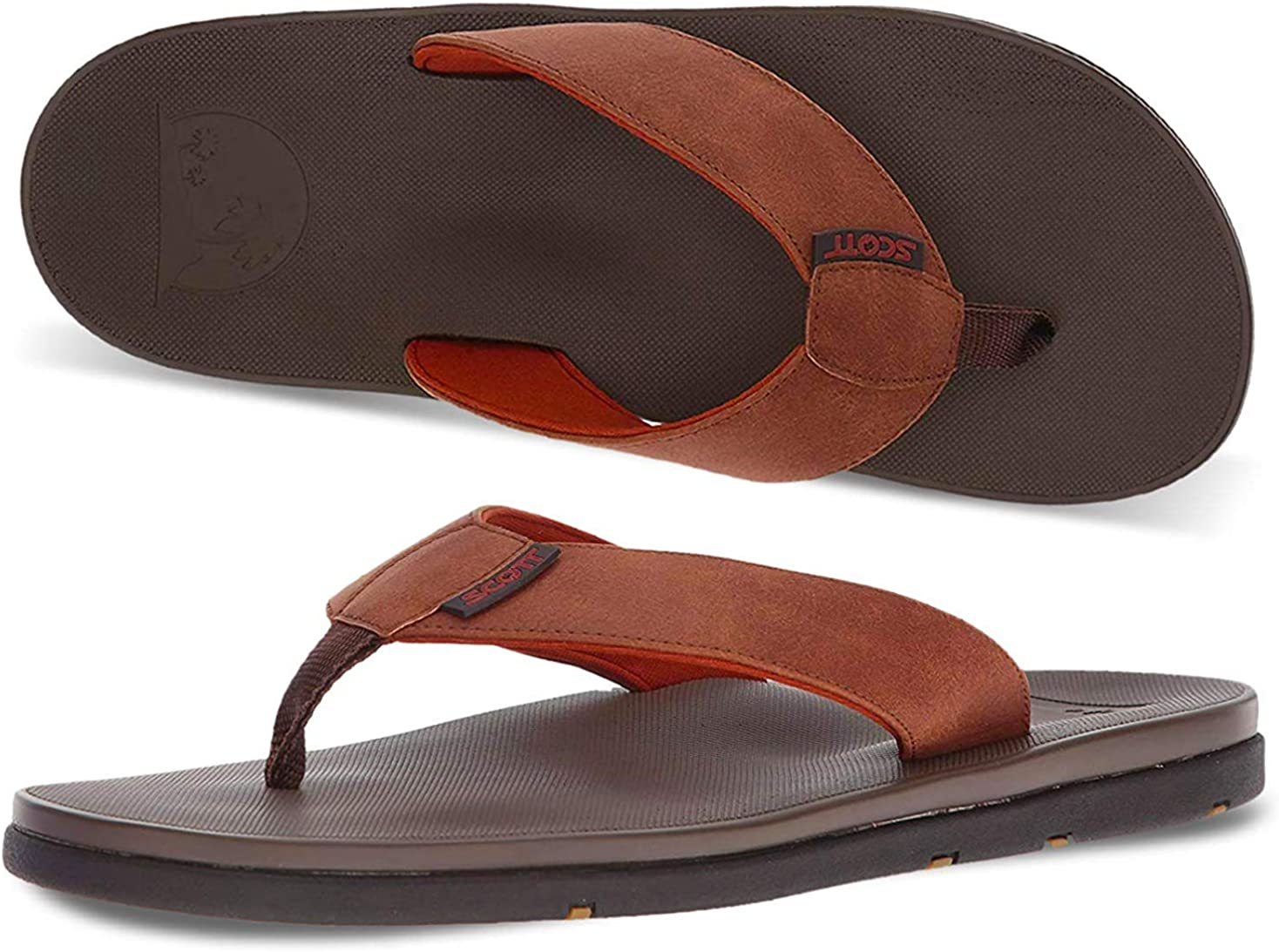 August Jim Mens Flip Flops Rubber Comfortable Summer Outdoor Beach Slippers