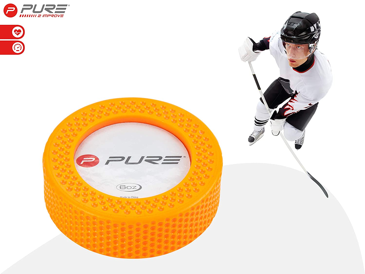 One size Yellow Pure2Improve Unisexs Pure Ice-Hockey Puck