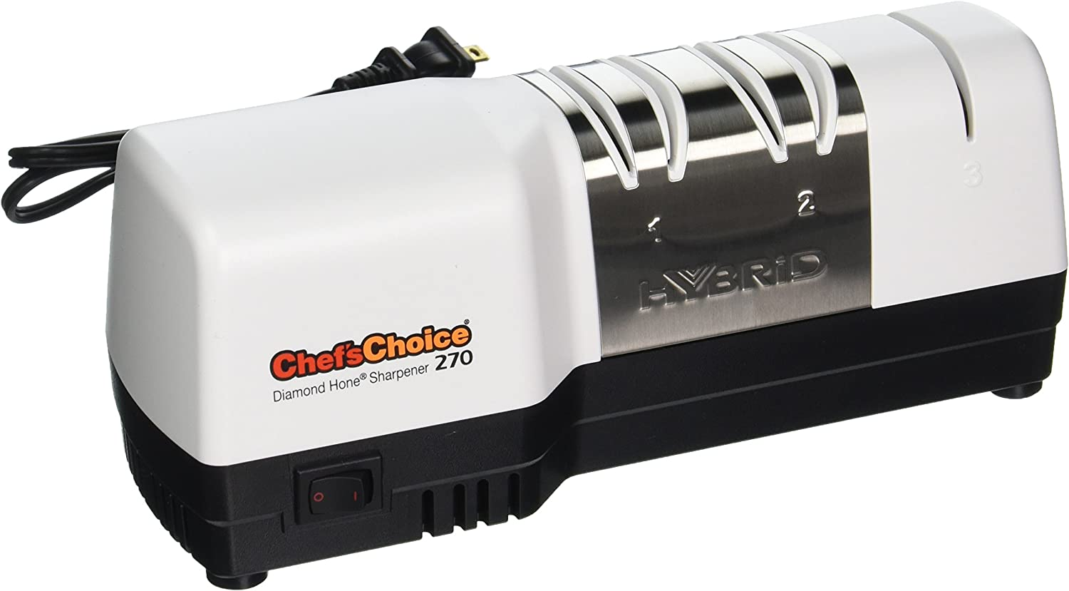 Chef sChoice 270 Hybrid Diamond Hone Knife Sharpener Combines Electric and Manual Sharpening for Straight and Serrated 20-Degree Knives Made in USA, 3-Stage, White