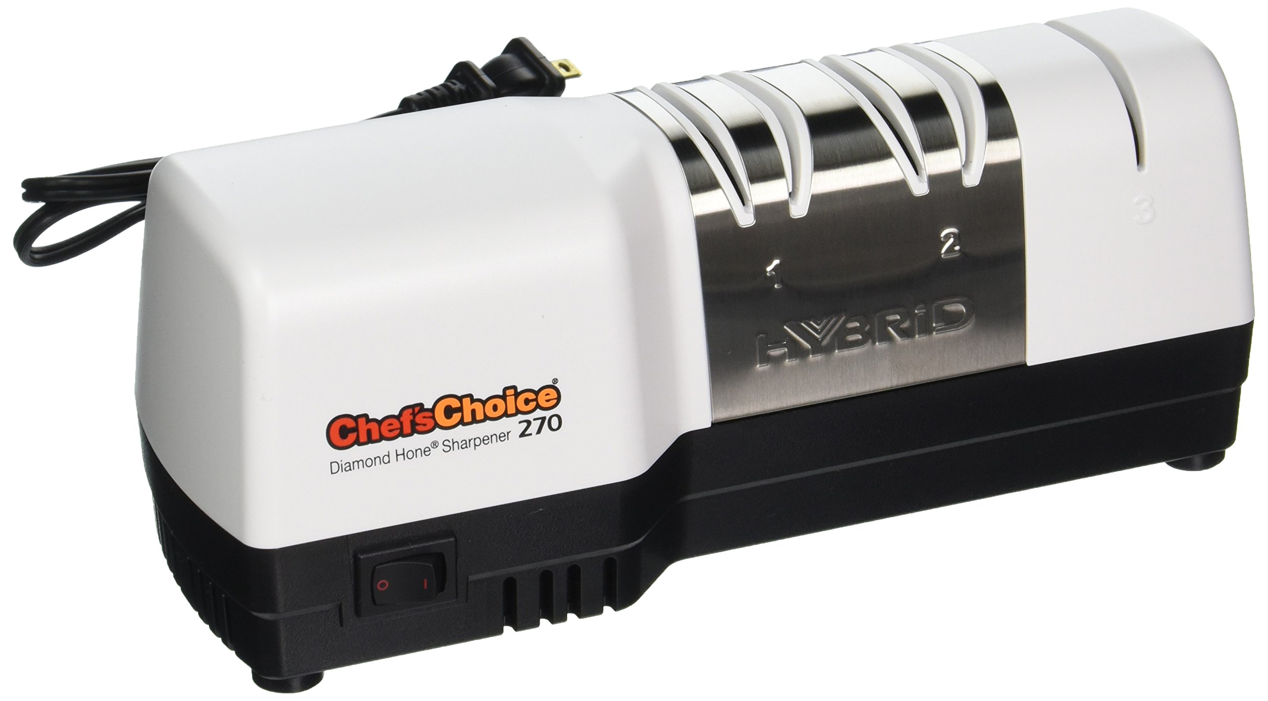 Chef'sChoice 270 Hybrid Diamond Hone Knife Sharpener Combines Electric and Manual Sharpening for Straight and Serrated 20-Degree Knives Made in USA, 3-Stage, White by Chef'sChoice