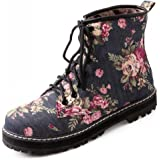 IDIFU Women's Sweet Floral Print Lace Up Denim Ankle Biker Boots Short Martin Booties Low Heels