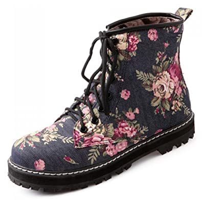 Women's Sweet Floral Print Lace Up Denim Ankle Biker Boots Short Martin Booties Low Heels