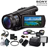 Sony FDR-AX100 4K Ultra HD Camcorder (FDR-AX100 4K) With 64GB Memory Card, Extra Battery and Charger, UV Filter, LED…