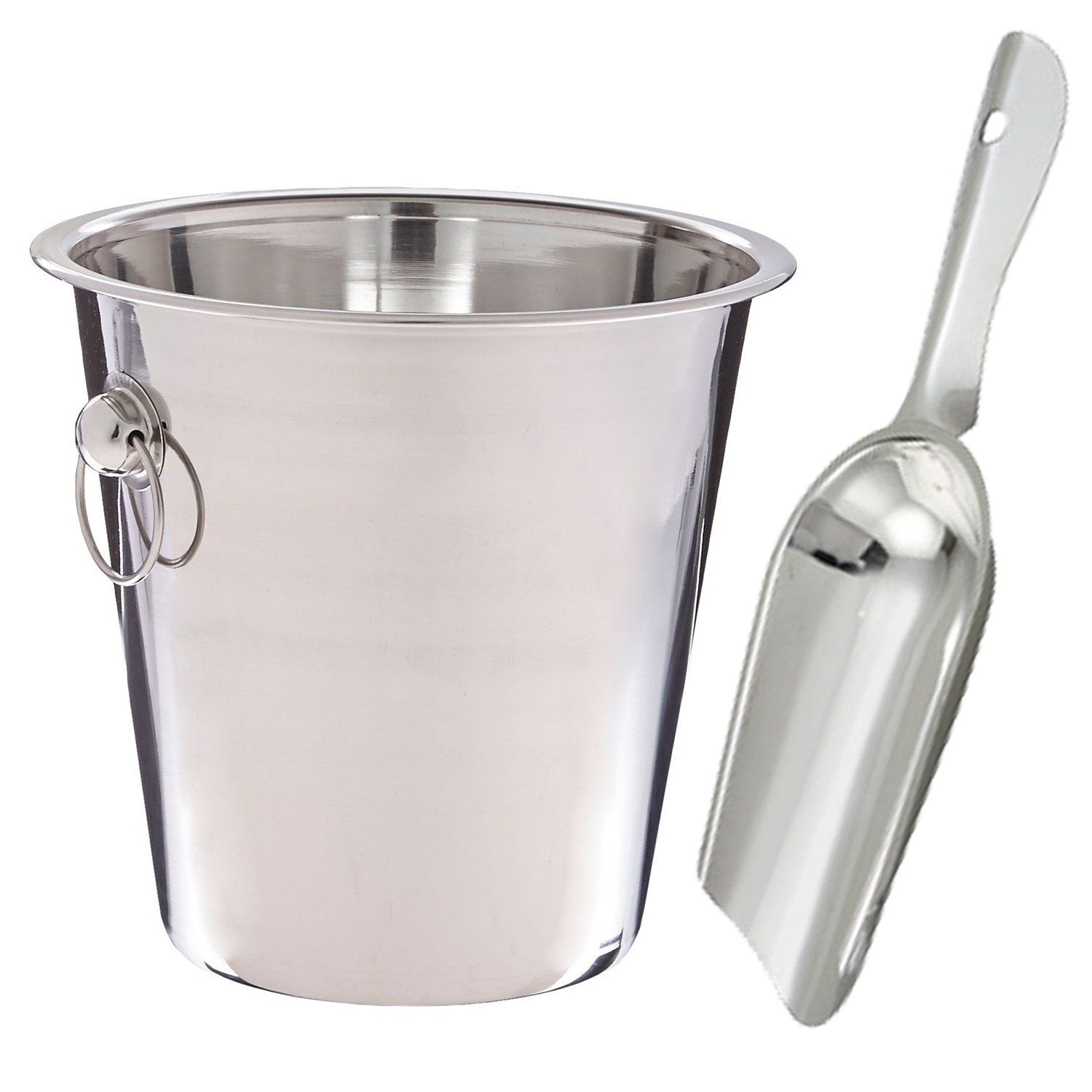 Wine Bucket 4 qt. Stainless Steel 4 oz. Ice Scoop by Culinary Depot