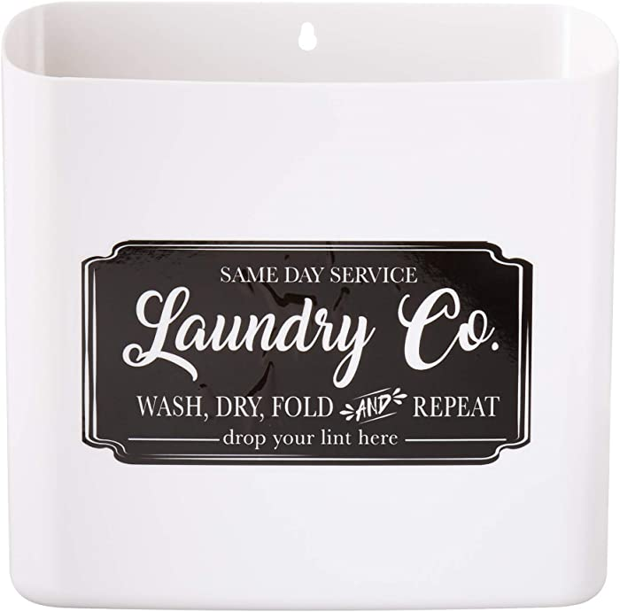 Nine Royal Farmhouse Laundry Room Decor Lint Bin Trash Can - Includes Wall or Magnetic Mount Accessories with Sign