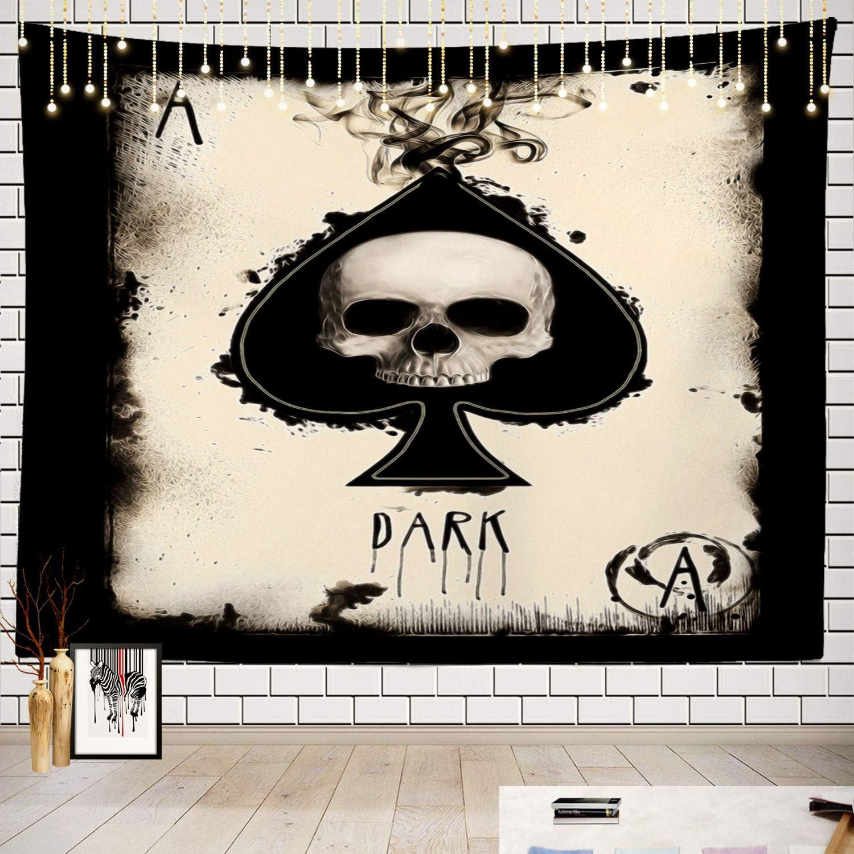Batmerry Skull Tapestry, Santa Muerte Tarot Picnic Mat Hippie Trippy Tapestry Wall Art Meditation Decor for Bedroom Living Room Dorm, 51.2 x 59.1 Inches, Fashion Retro
