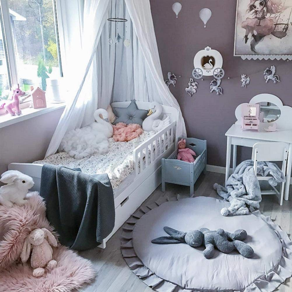 Chengstore Kids Nursery Rug Round Lace Baby Crawling Mat Large Cotton Baby Floor Children Play Mat Round Carpet for Kids Room Living Room