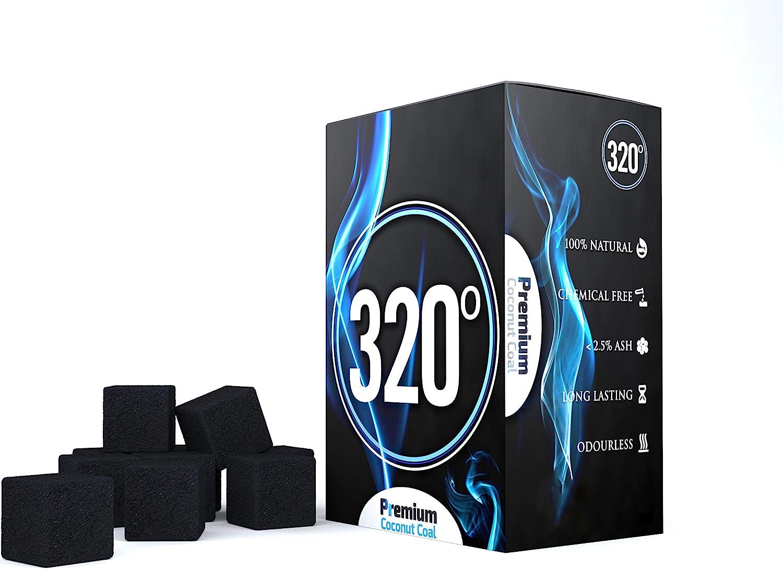 320° - Carbón de coco (25mm Cubo) natural para cachimba shisha, narguile & barbacoas, 1 kg