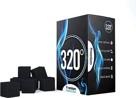 320° - Carbón de coco (25mm Cubo) natural para barbacoas, 1 kg