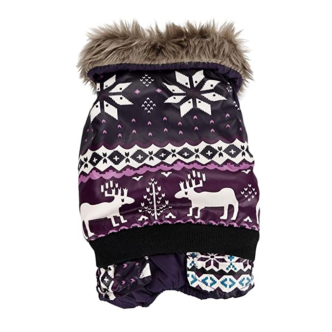 INTERNET Ropa para Perros, Perro Mascota Abrigo de algodón cálido Alce de Navidad Ropa de Invierno para Cachorros Disfraz de Mascota (Purpura, ...