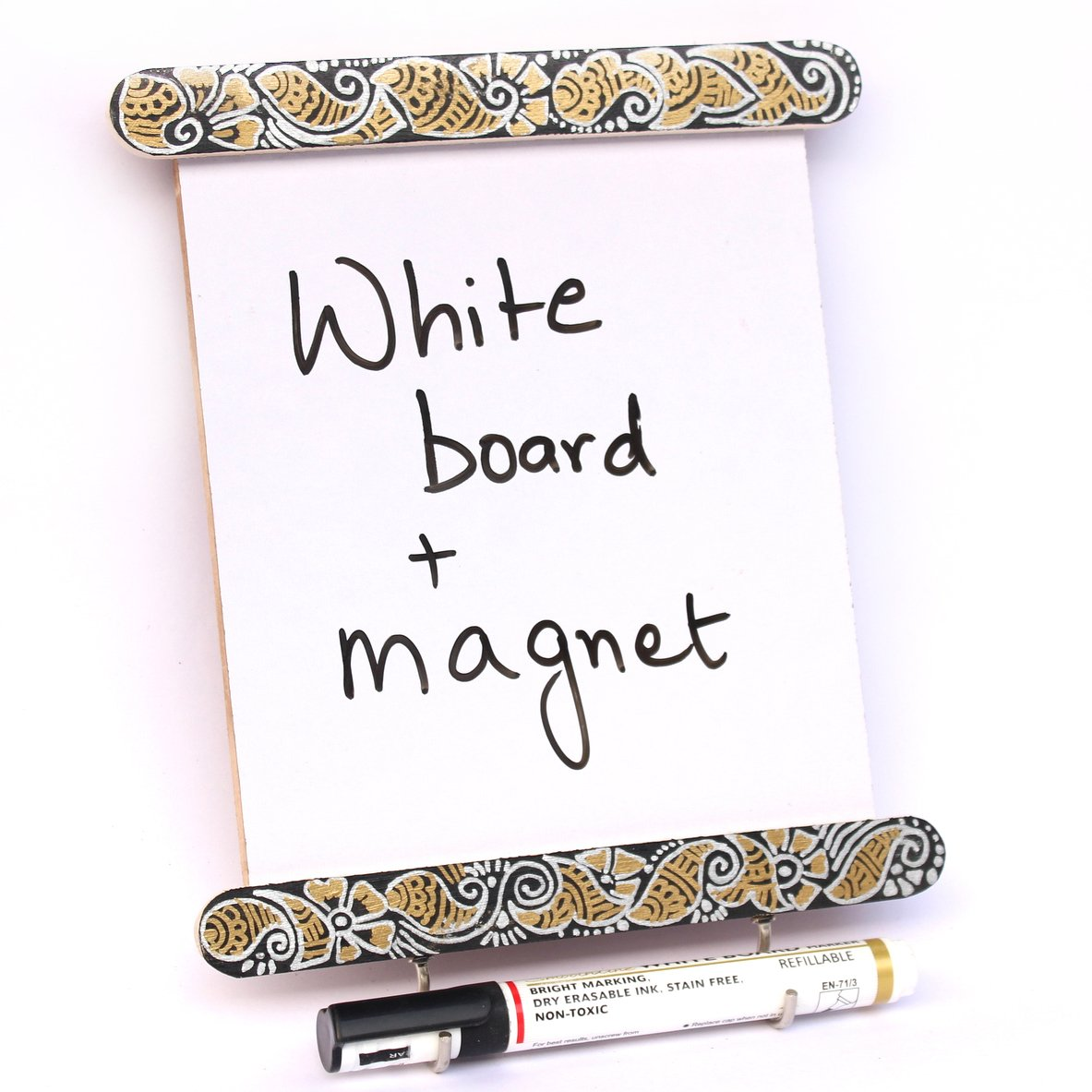 IVEI Utility Fridge Magnet with a Dry Erase Board and Hand Painted - Budget Gifts - Unique Ideas - whiteboard (Black)