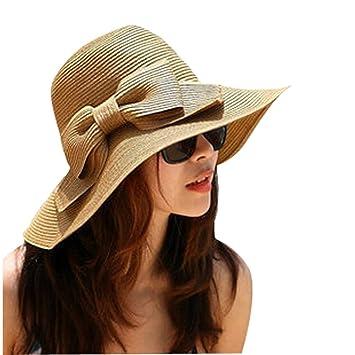9b036ad727ee60 Big Big Floppy Hand Crocheted Holiday Travel Bohemia Women Fashion Korean  Large Wide Brim Bow Beach Sun Straw Hat Cap Sun Visor Sun Shade (Coffee):  ...