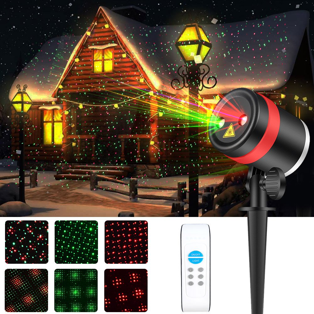 Laser Christmas Lights, ALPULON Red and Green Star Projector ...