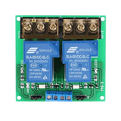 Amazon com: Walmeck 2-Channel DC 5V 30A Relay Board Module
