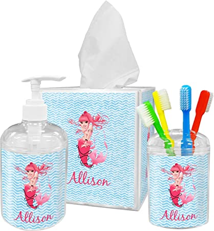 Amazon Com Rnk Shops Mermaid Bathroom Accessories Set Personalized