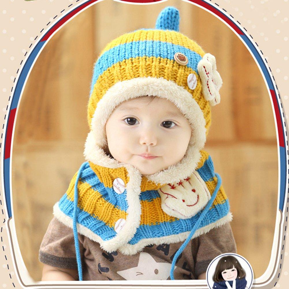 LeisialTM Bebé Sombrero + Bufanda de Cuello Caliente Dos Piezas Gorro Tejido  de Punto Suave Invierno Otoño para Niños Niñas ( 1)  Amazon.es  Ropa y ... 60c1614ea42