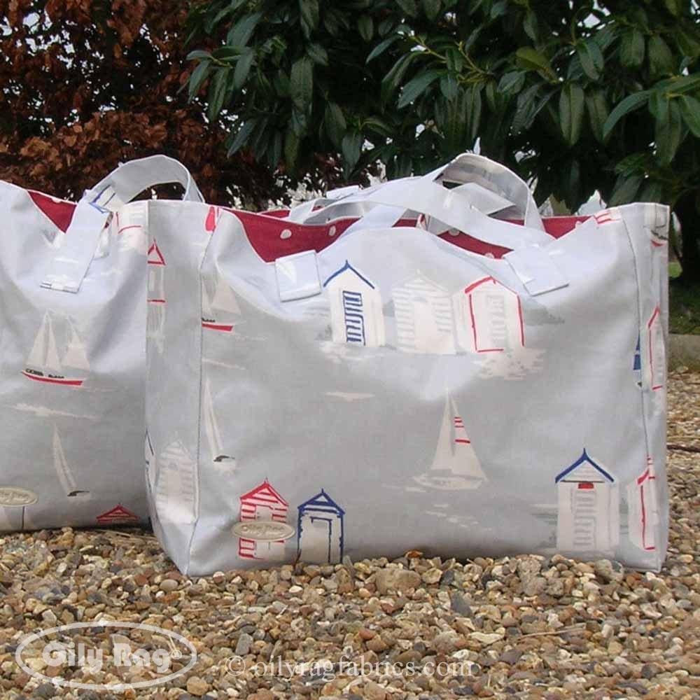 Casetas de playa bolsa de la compra por huellas de trapo de telas (3 tamaños), Big beach ? 50 (w) x 35 (h) x 20 (d) cms - £50: Amazon.es: Hogar