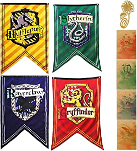 Garden and Bedroom Wall Flag Decoration for Harry Party Potter Cool Gryffindor Slytherin Hufflepuff Ravenclaw Banner[4PCS]