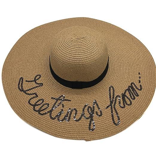 42ace3e5 Women's Cursive Sequined Letters Large Folded Beach Floppy Sun Hat(Khaki)