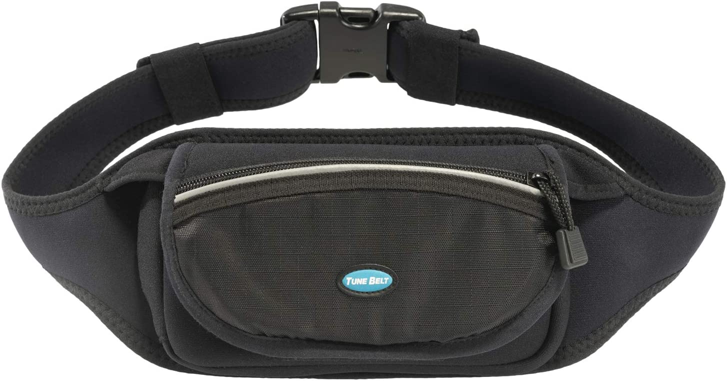 Tune Belt Running Waist Pack for iPhone 11, 11 Pro Max, X Xs, Xr, Xs Max, 8 7 6s 6 Plus, Note8 9 10 10+, Galaxy S8 S9 S10 Plus - Fits Cases - for Fitness, Hiking & Travel - Water Resistant [Black]