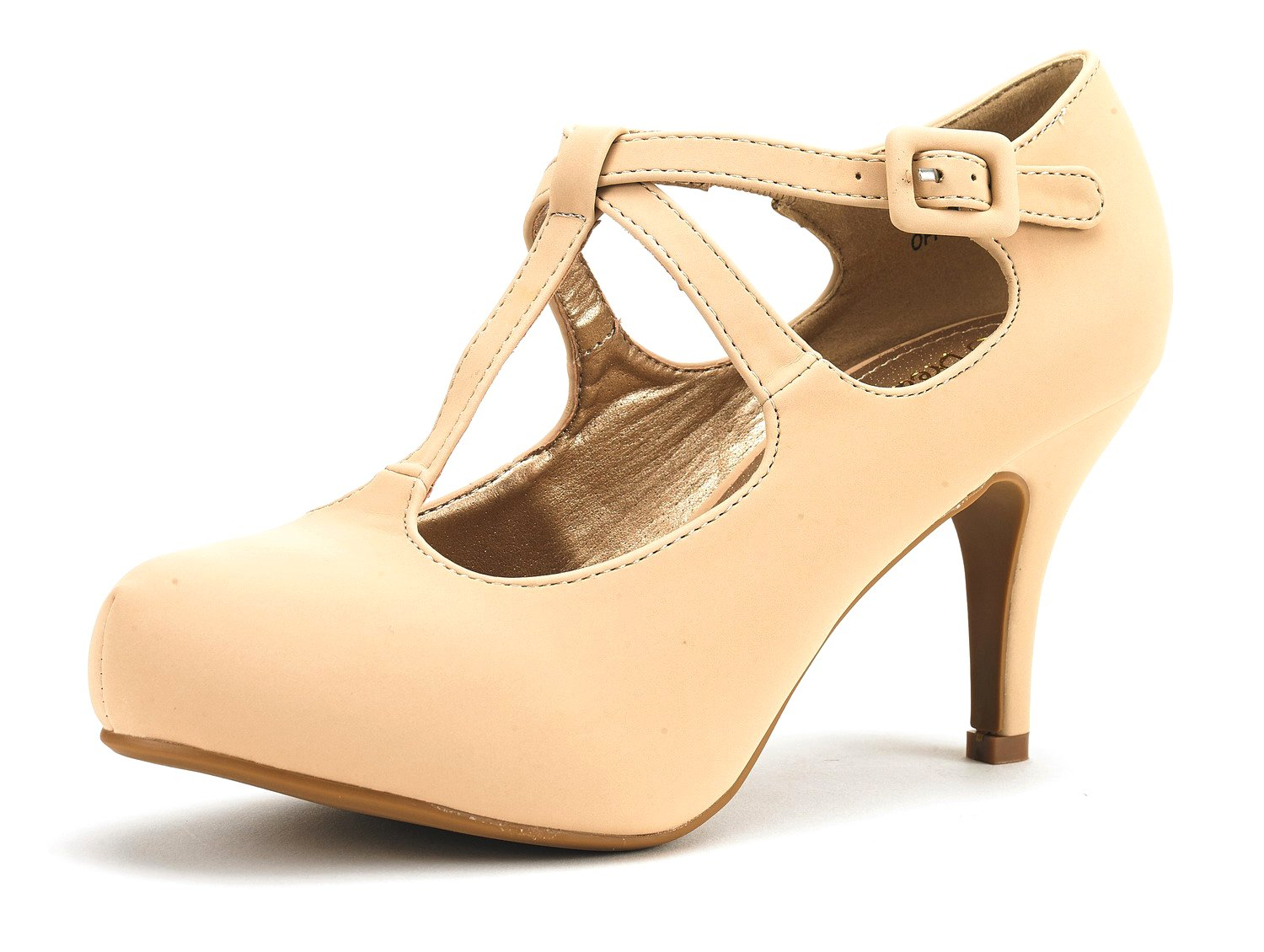 DREAM PAIRS Office-5 Women's New Classic Mary Jane Almond Toe High Heel Platform Pumps Shoes Nude-Nubuck Size 10