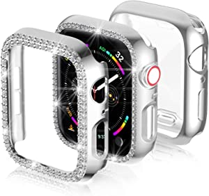 3-Pack Apple Watch Series 6/SE 40mm Screen Protector Case,JZK Bling PC Diamond Case Bumper Shell Frame & Soft Plated TPU Protective Case Full Cover for iWatch Series 6/SE/5/4 40mm Nike+,Edition,Silver