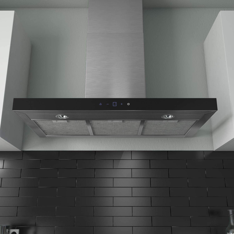 ElectriQ 90 cm Slimline Control de toque de acero inoxidable chimenea para campana extractora: Amazon.es: Hogar