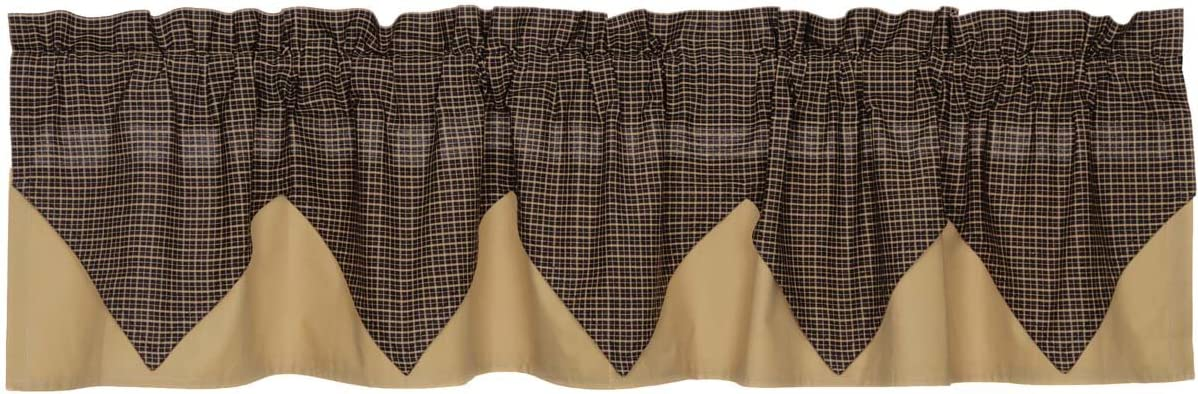 VHC Brands 7184 Kettle Grove Plaid Valance Layered Lined 16×72