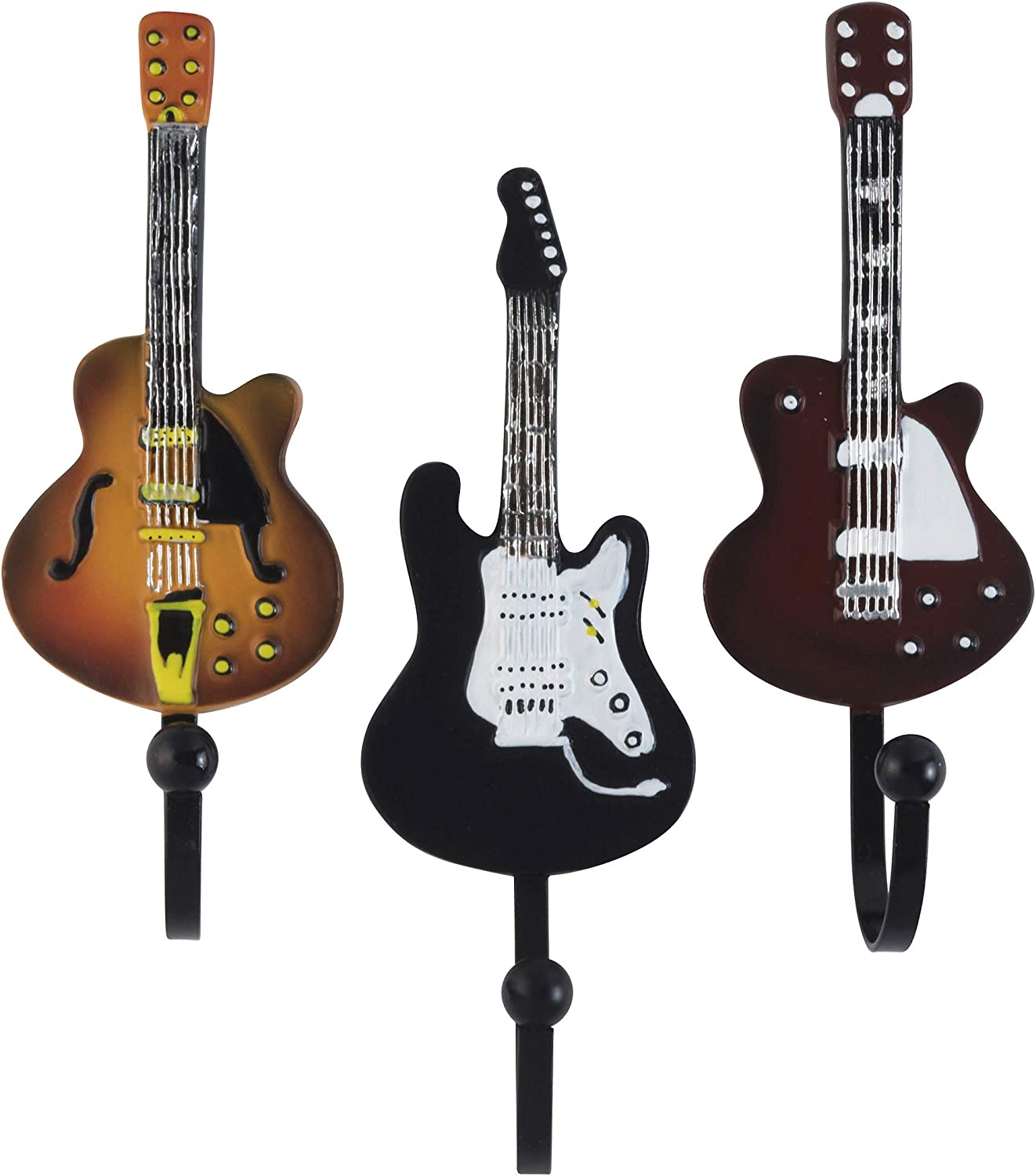 Decorative Vintage Guitar Resin Wall Coat Hooks in Tan, Brown and Black Colors (Set of 3)