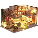HEYJUDY Kit de Casa de Bonecas em Miniatura DIY Casa de Bonecas de Madeira com Conjunto de Móveis, Casa de Brinquedo Criativa