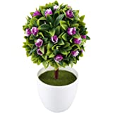MIHOUNION artificiale Topiary sfera realistica in vaso artificiale pianta plastica Piccolo Bonsai con viola elegante fiori finti per Wedding Outdoor giardino interno casa tavolo della cucina decorazione Pasqua
