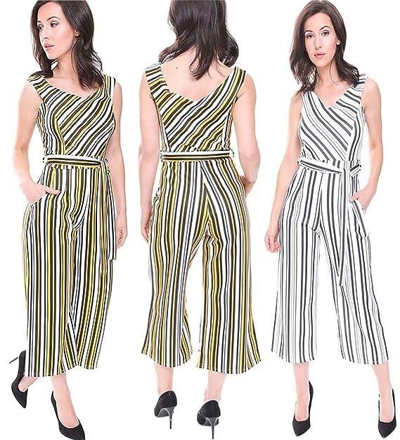 Ladies Striped Culotte Jumpsuit