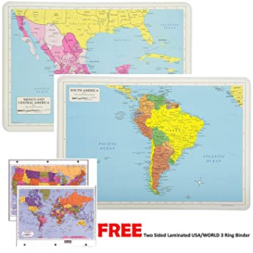 Painless Learning Educational Placemats For Kids Laminated Mexico Central  America and South America Map Set Free Two Sided UNITED STATES/WORLD Maps  ...