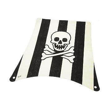 Piraten-Kopftuch Schwarz mit Totenkopf und gekreuzten Knochen