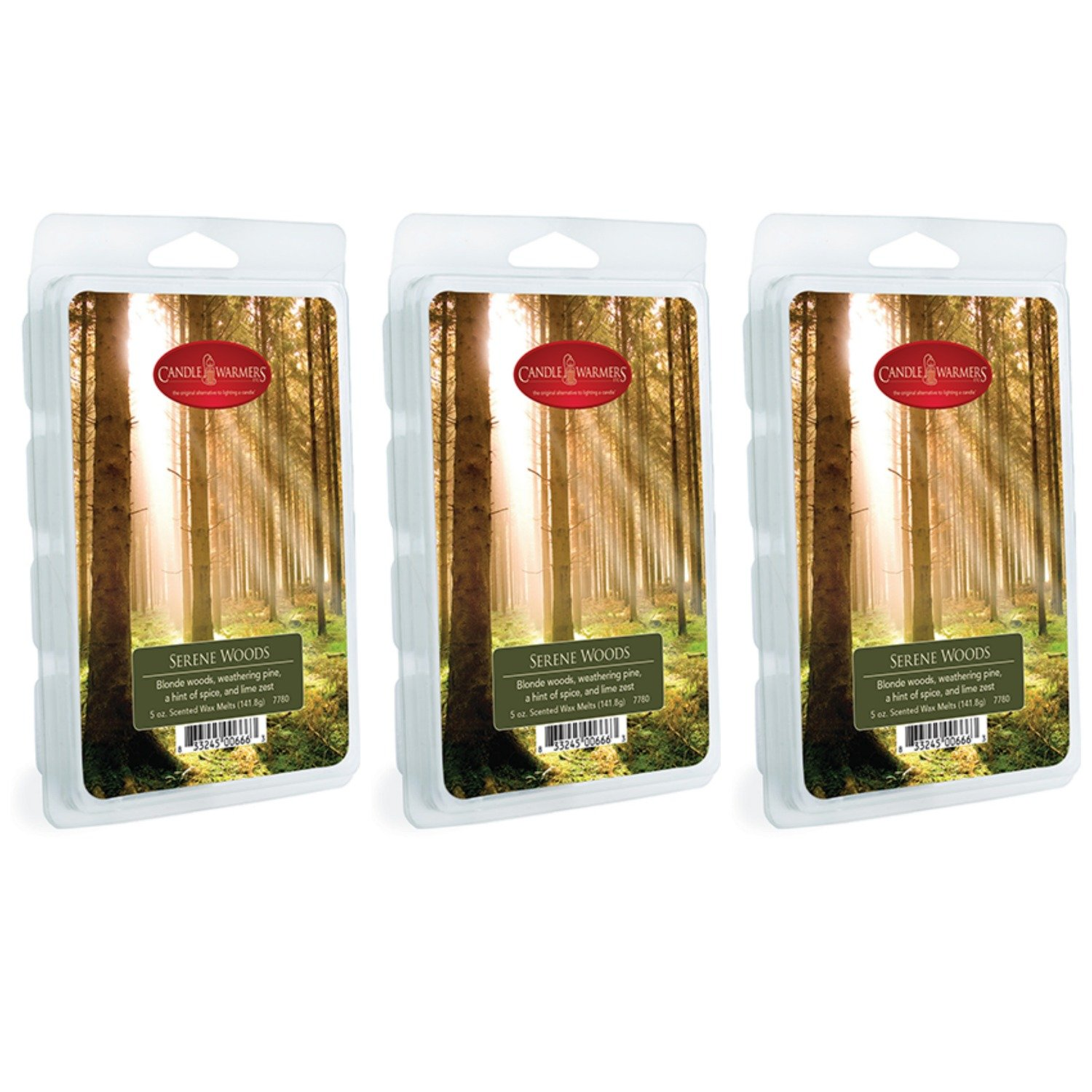 Candle Warmers Etc. 5 oz Wax Melt 3-Pack, Serene Woods