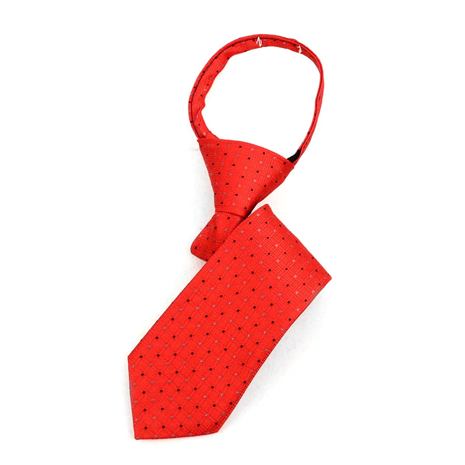 Boxed-Gifts Boys 11 Microfiber Woven Red Dotted Zipper Tie 11