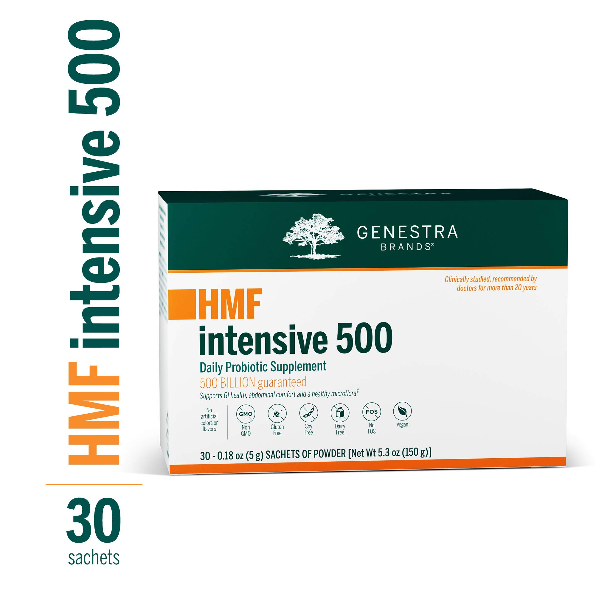 Genestra Brands - HMF Intensive 500 - Highly Concentrated Probiotic Supplement to Support Gastrointestinal Health - 5 Gram Sachets of Powder - 30 Count